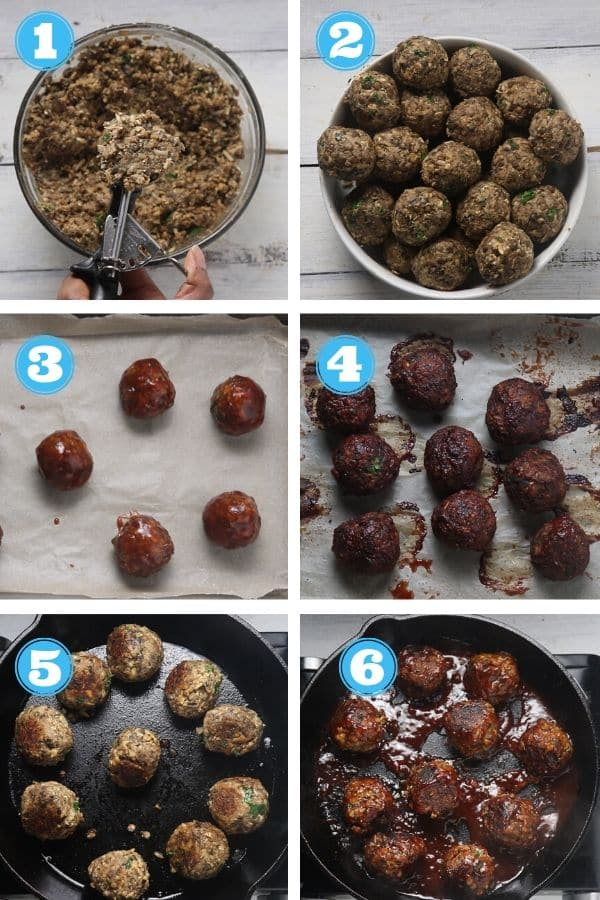 6 grid photo of baking and sauteing vegan meatballs