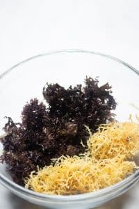 Irish Moss and Sea Moss in a glass bowl