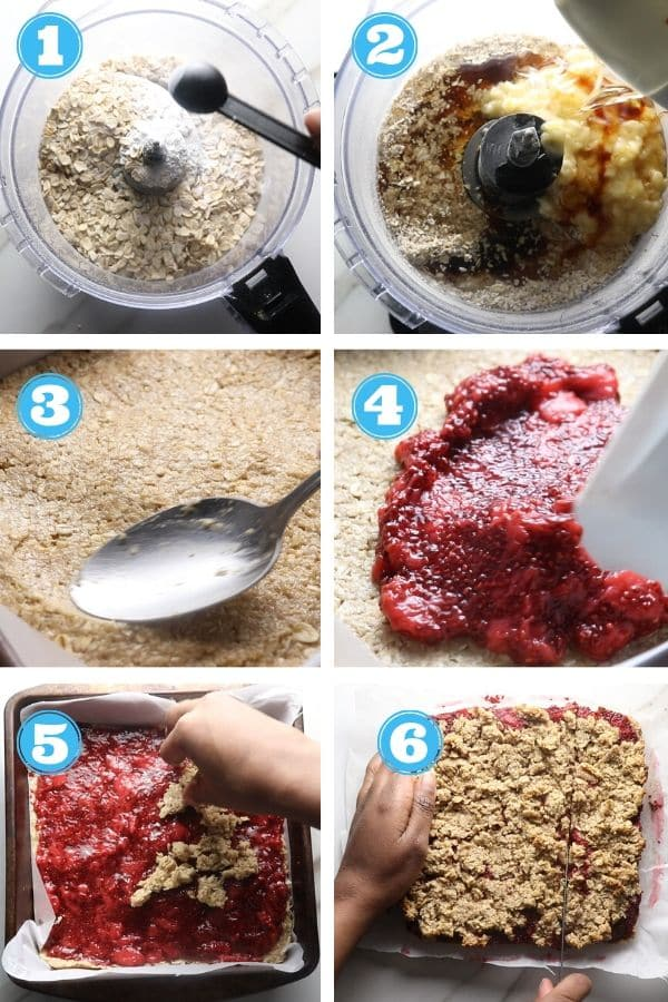 step by step by photos of how to make strawberry oat bars