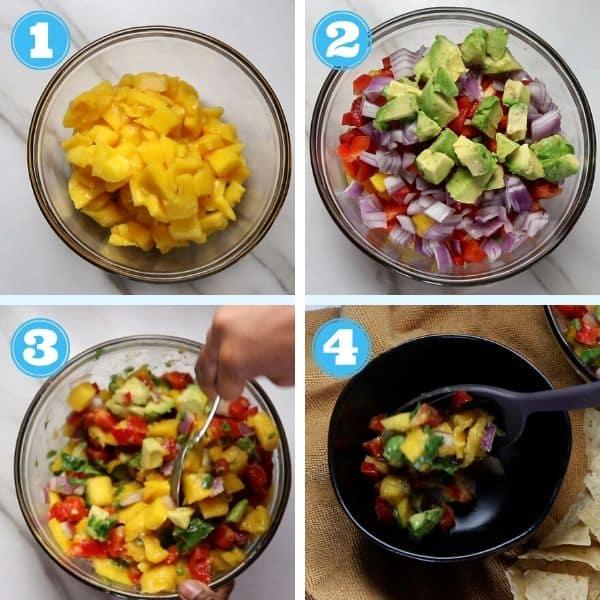 4 grid step by step photo of making mango salsa