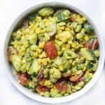 corn salad in a white bowl