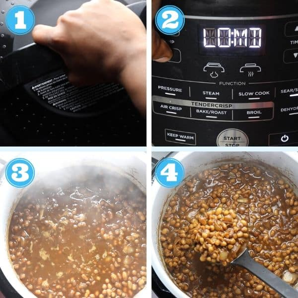 6 grid photo showing steps of finished baked beans inside the Ninja Foodi