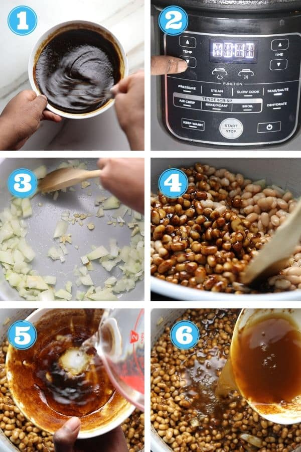 6 grid photo showing steps in making sauce and adding beans and sauce to the Ninja Foodi