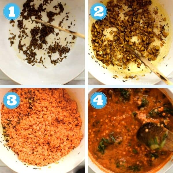 4 grid step by step photo of toasting cumin seeds and adding red lentils and other veggies to a pot