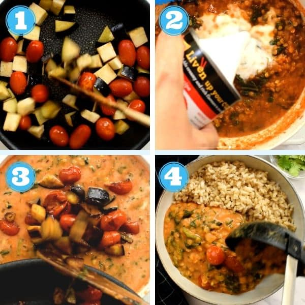 4 grid step by step photo of cooking tomatoes and eggplant, adding veggies to lentil curry and serving it with brown rice