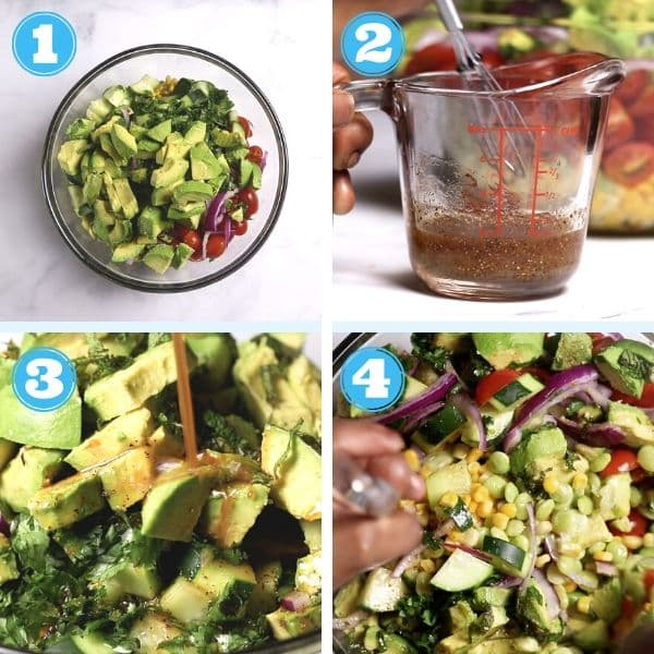 this a 4 grid step by step picture showing vegetables being added to a bowl, dressing being mixed, dressing being poured on salad and tossed