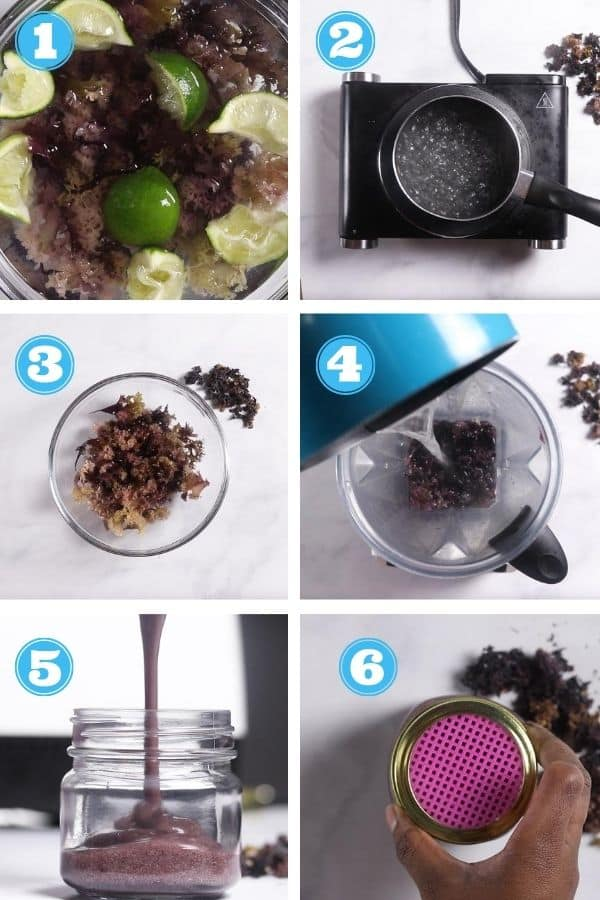 6 grid step by step photo of making sea moss gel
