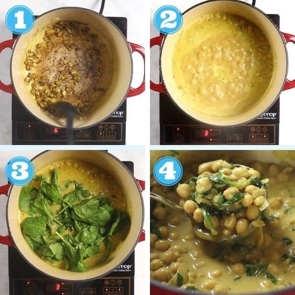 4 grid photo of making chickpea peanut butter curry