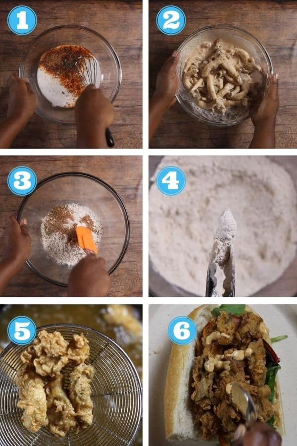6 grid step by step photo of making and assembling a vegan po' boy sandwich