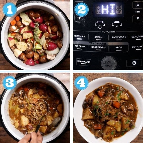 a step by step photo of vegetables and broth added to pressure cooker and cooked