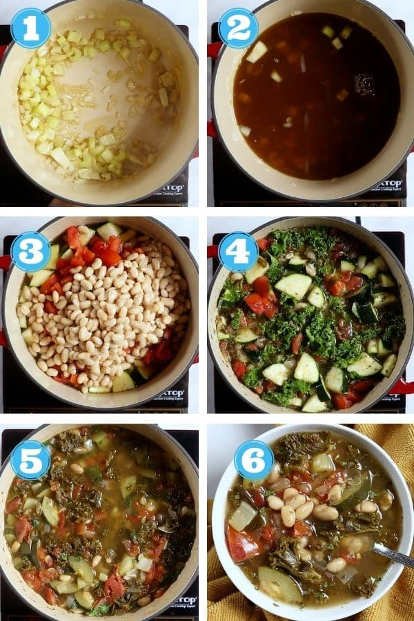 6 grid step by step phot of making vegetable soup