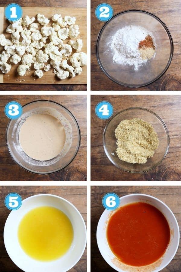6 grid photo of making buffalo cauliflower bites