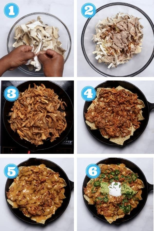 6 grid step by step photo of making vegan nachos