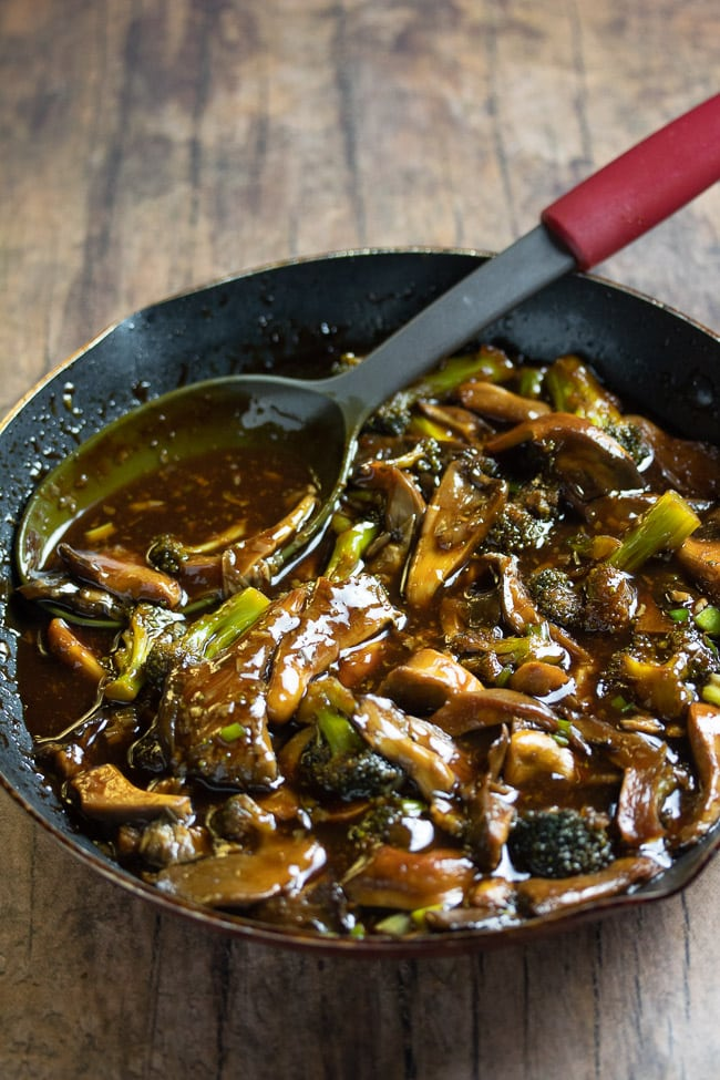 teriyaki oyster mushrooms and broccoli in a pan