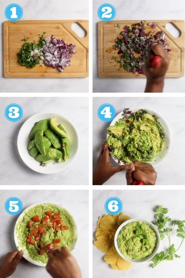 6 grid photo showing how to make guacamole