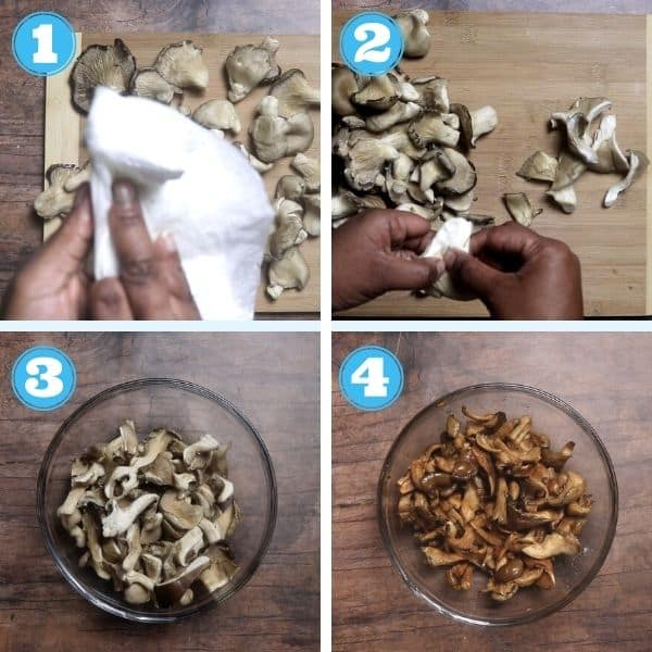 4 grid step by step photo of cleaning oyster mushrooms