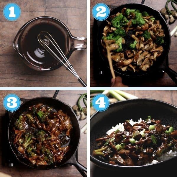 4 grid step by step photo of cooking teriyaki stir fry