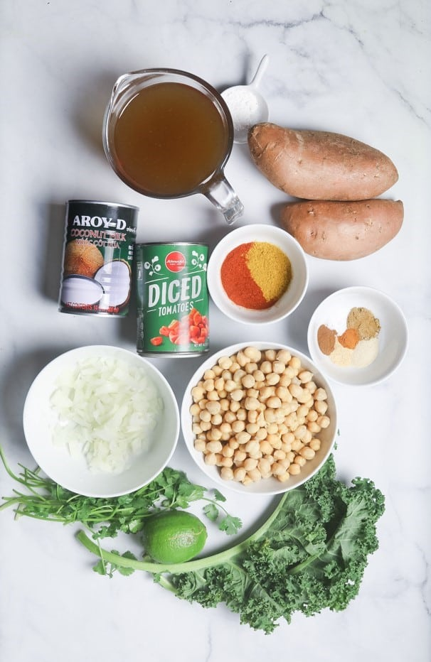 picture of all the ingredients to make chickpea curry