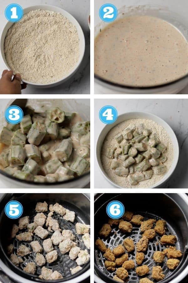 6 grid step by step photo of how to make air fried okra
