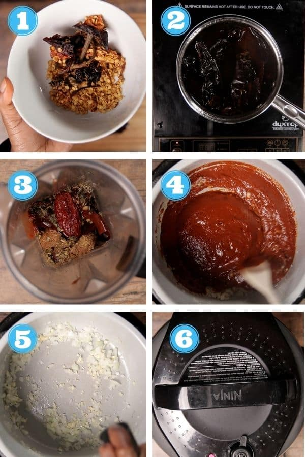 6 grid step by step photo of making birria sauce