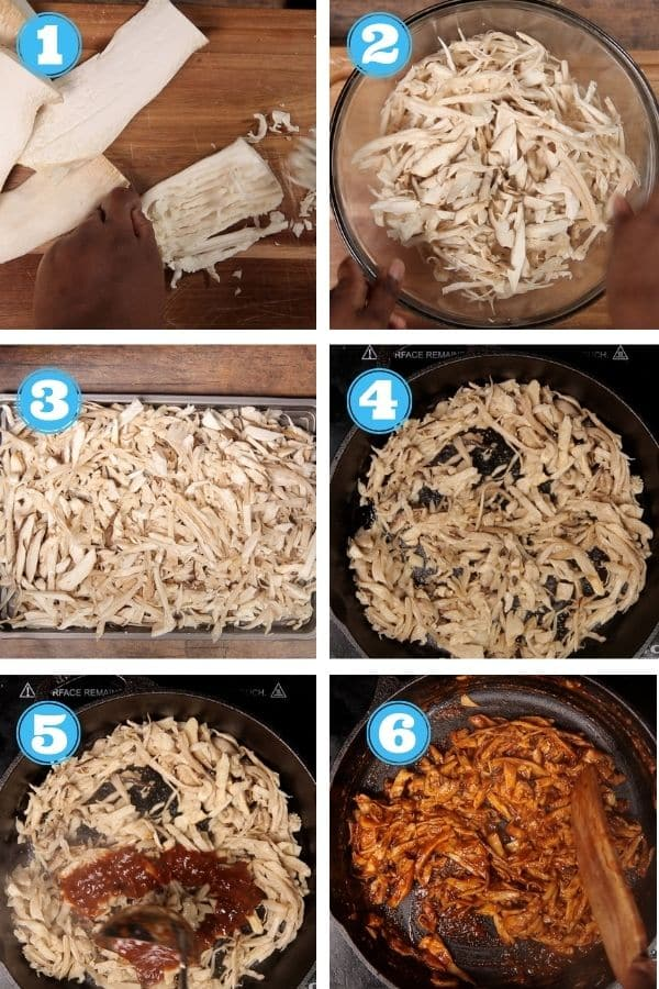 6 grid step by step photo showing how to prepare king oyster mushrooms
