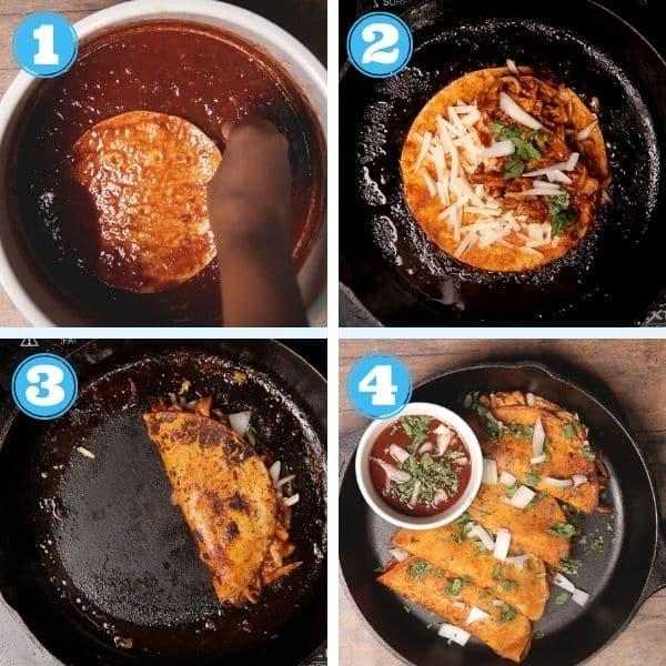 4 grid photo of assembling birria tacos